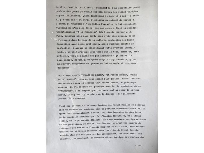 Daniel Toscan du Plantier au sujet du Dossier 51. Note de production du Paltoquet. [DEVILLE383 B74]