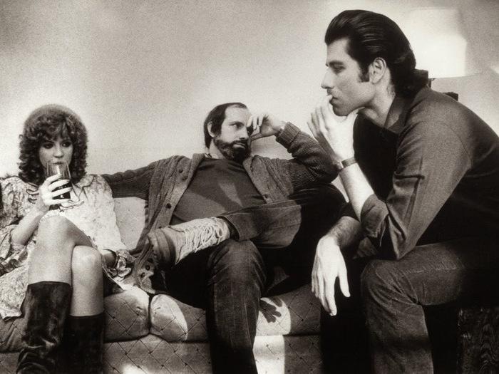 """Nancy Allen, Brian De Palma et John Travolta sur le tournage de """"Blow Out"""" (1981)"""