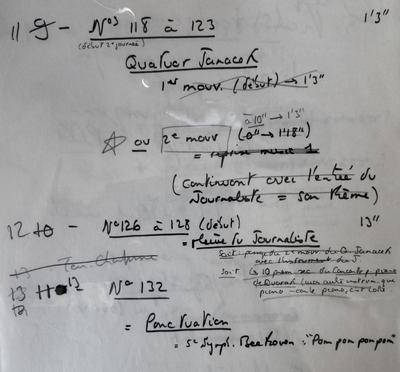 Note préparatoire sur les ponctuations musicales du Paltoquet.