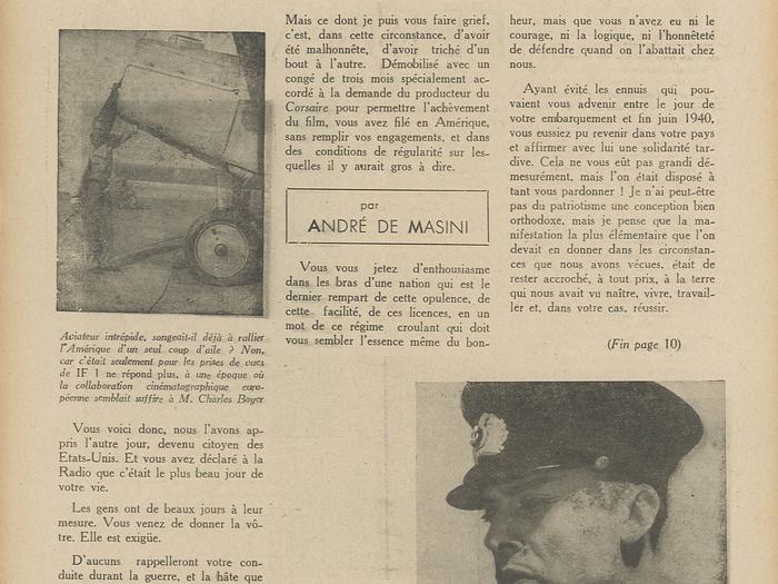 """""""Adieu M. Boyer"""" dans La Revue dé l'écran n°478B du 13 mars 1942"""