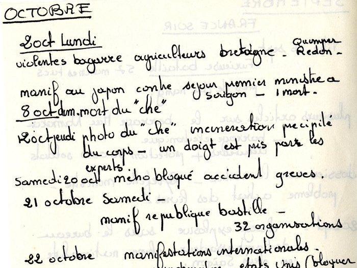"""Agenda d'actualités tenu par Goupil (Archives GOUPIL 58 B11 – [Projet """"Oui Mai""""] : """"Aout 77"""")"""