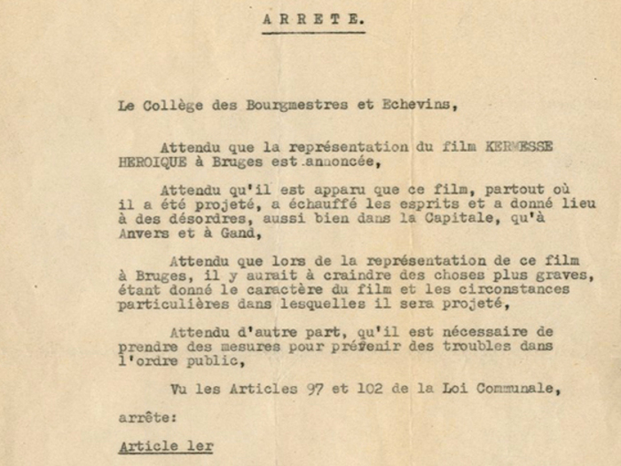 Arrêté d'interdiction du film à Brugges, fonds Charles Spaak