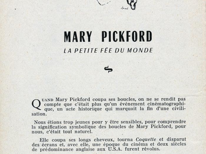 Brochure Cinémathèque française - Hommage aux Artistes Associés - Mary Pickford (extrait)
