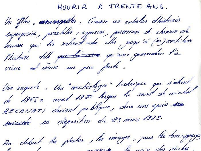 """Brouillon de note d'intention pour """"Mourir à 30 ans"""" (Archives GOUPIL 73 B17 """"Mourir à trente ans"""" : """"Original Reca"""")"""