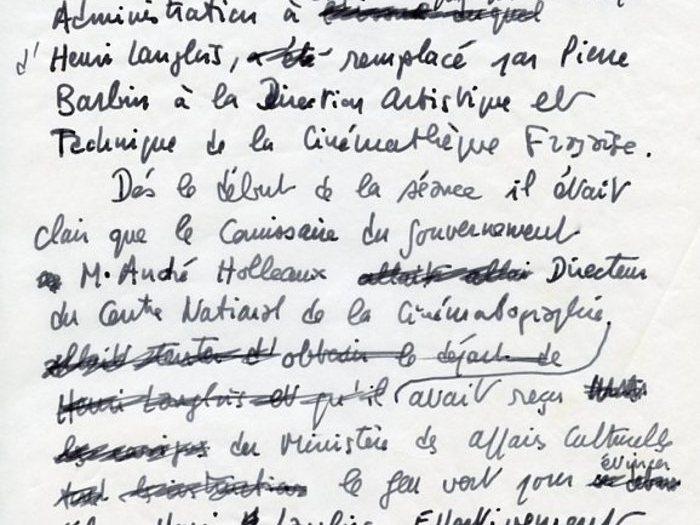 Brouillon manuscrit de François Truffaut