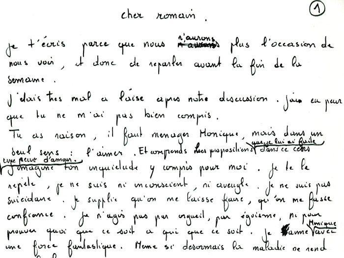 """Brouillon original de la lettre que Recanati a adressé à Goupil, page 1 (Archives GOUPIL 79 B18 – """"Mourir à trente ans"""" : """"Commentaires"""")"""