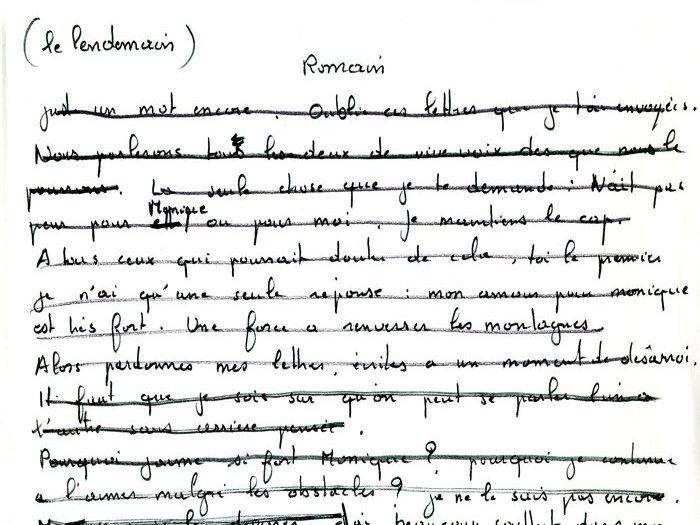 """Brouillon original de la lettre que Recanati a adressé à Goupil, page 2 (Archives GOUPIL 79 B18 – """"Mourir à trente ans"""" : """"Commentaires"""")2"""