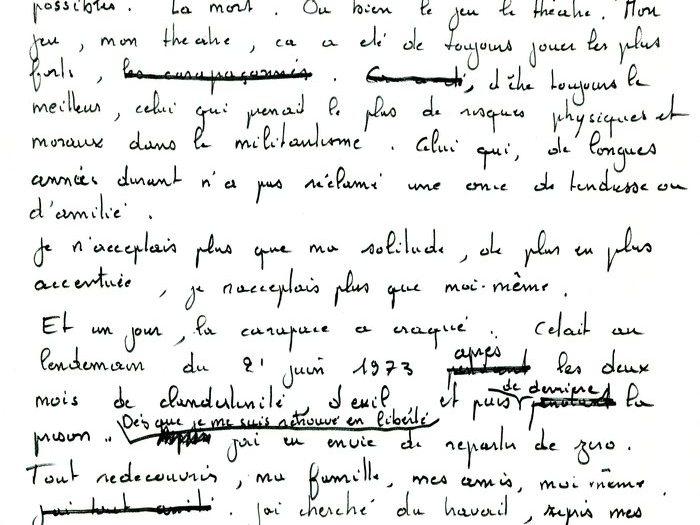 """Brouillon original de la lettre que Recanati a adressé à Goupil, page 3 (Archives GOUPIL 79 B18 – """"Mourir à trente ans"""" : """"Commentaires"""")"""