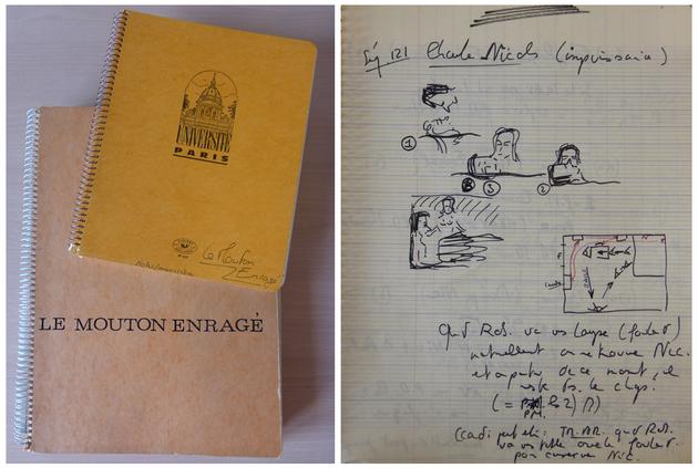 Cahiers A5 et A4 utilisés par Michel Deville pour la préparation du Mouton enragé.[DEVILLE169 B33].