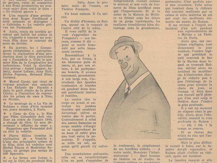 Caricatures signées Toé dans Les Cahiers du Film n° 68, janvier 1944