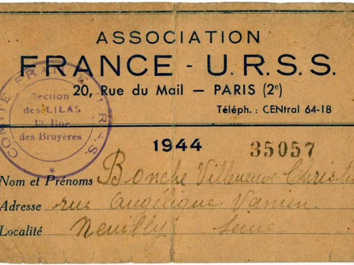 Carte de l'Association France-URSS de Chris Marker