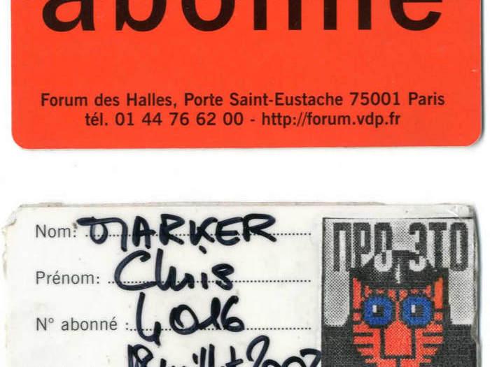 Carte de membre du Forum des Images de Chris Marker