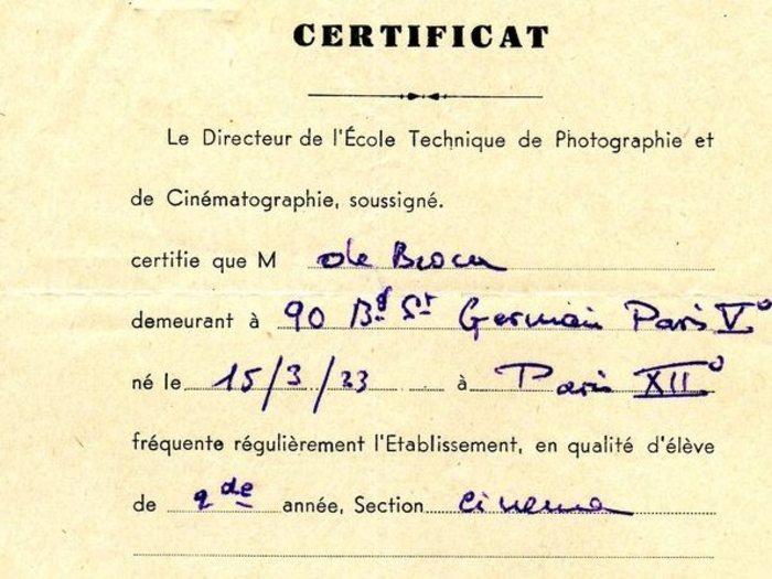 Certificat de l'ETPC (Fonds Philippe de Broca)