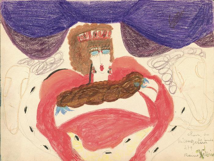 Char de lumière de toutes les Russies - Reine Victoria (détail, recto de l'œuvre double face), c. 1941, mine de graphite, pastel et crayon de couleur sur papier, 29,8 x 22,4 cm © Aloïse