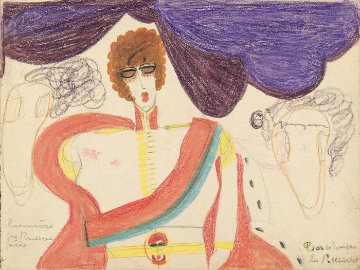 Char de lumière de toutes les Russies - Tsar de toutes les Russies (détail, recto de l'œuvre double face), c. 1941, mine de graphite, pastel et crayon de couleur sur papier, 22,4 x 30 cm © Aloïse