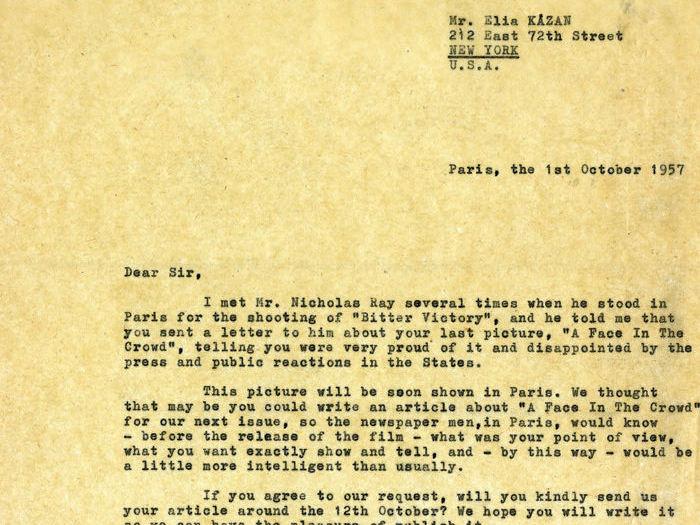 Charles Bitsch à Elia Kazan - octobre 1957