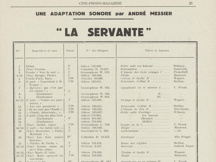 """Ciné-phono magazine n°2 (mai 1930) - Adaptation Sonore de """"La Servante"""""""