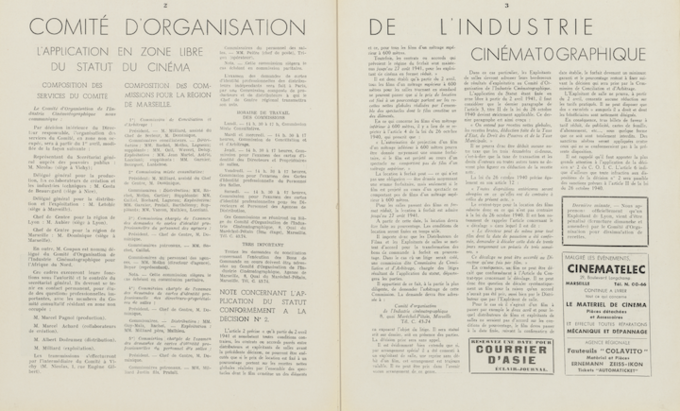 COIC - L'application en zone libre du statut du cinéma dans le n°386A du 5 avril 1941