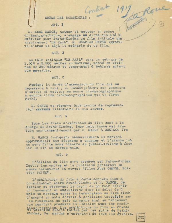 Contrat entre Abel Gance et Charles Pathé pour un film intitulé provisoirement Le Rail, p.2. Fonds Abel Gance - Collection Cinémathèque française