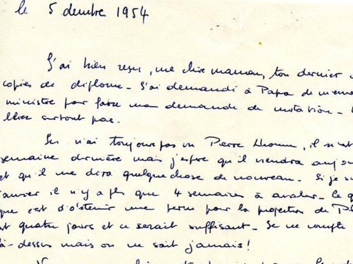 Courrier de Philippe de Broca à sa Famille (5 décembre 1954)