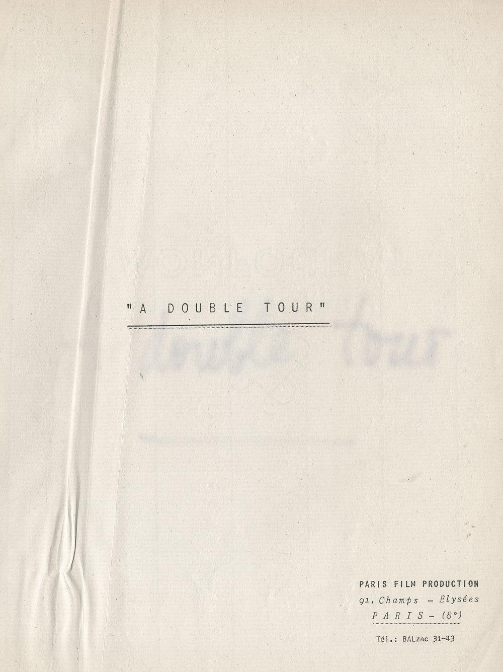 Couverture du scénario de À double tour (Claude Chabrol)