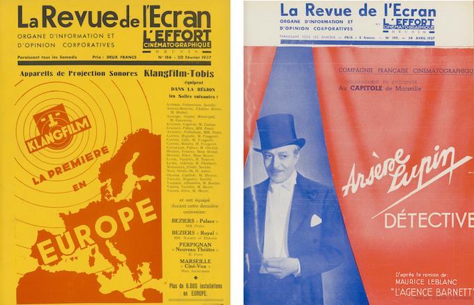 Couvertures des n°186 et 195 de La Revue de l'écran et de L'Effort cinématographique réunis