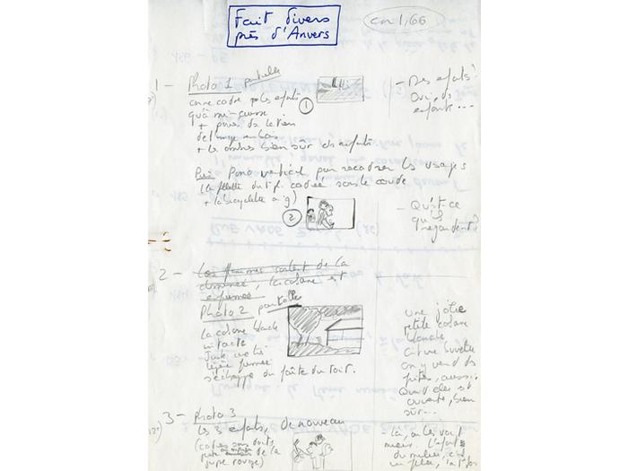 Découpage avec dessins pour un projet de film intitulé Faits divers près d'Angers - Page 1