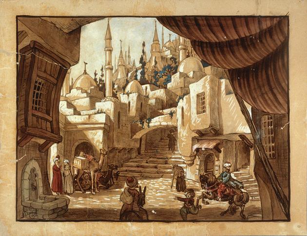 Dessin de décor (aquarelle, fusain et gouache sur papier) © Nicolas Wilcke (coll. Cinémathèque française)