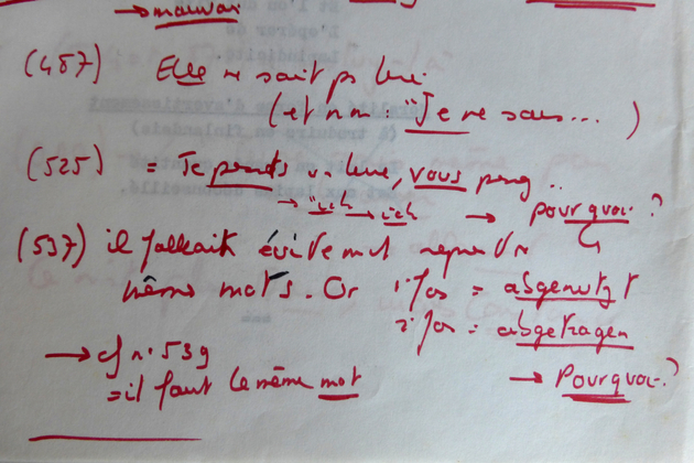 Dialogues de <em>La Lectrice</em> en allemand, manuscrit annoté par Michel Deville [DEVILLE453 B97]