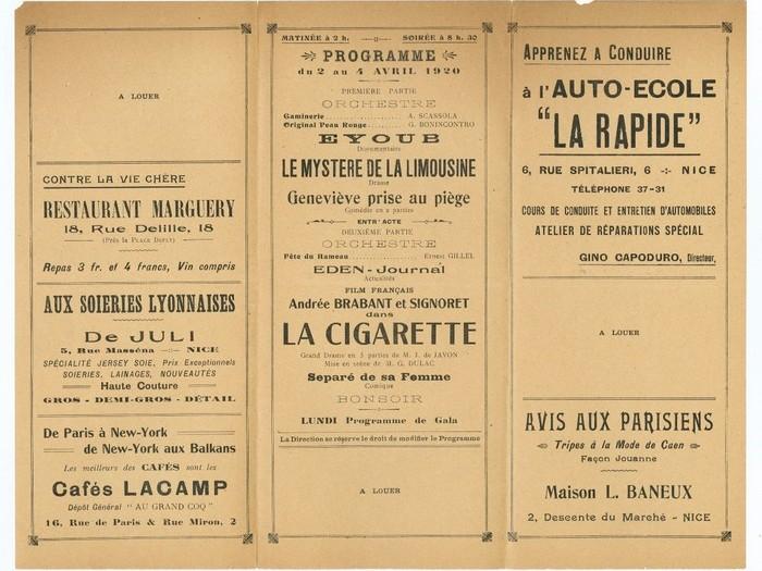 Programme Eden-Cinéma-Théâtre, Nice (page intérieure)