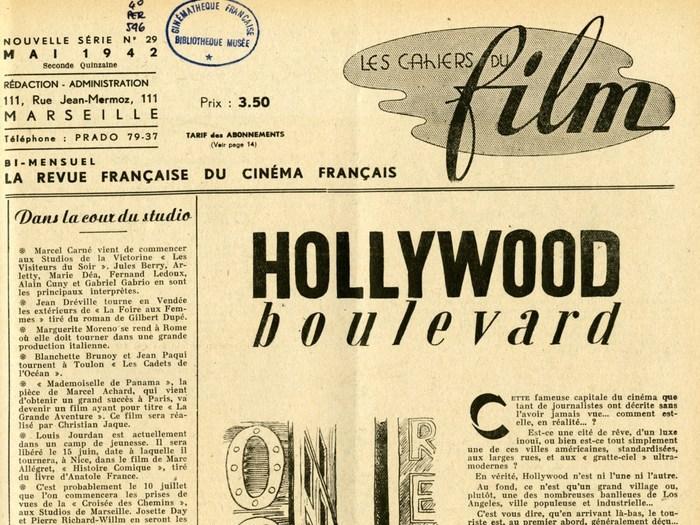 Editorial consacré à Hollywood dans les Cahiers du Film n°29, mai 1942