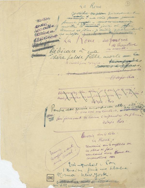 La Roue, Manuscrit original, p. 3, fonds Abel Gance, coll. la Cinémathèque française