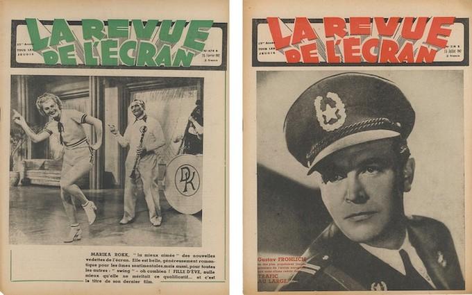 En couverture de La Revue de l'écran, Marika Rökk dans le n°574B du 26 février 1942 et Gustav Frohlich dans le n°514B du 16 juillet 1942