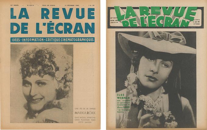 En couverture de La Revue de l'écran, Marika Rökk dans le n°355B du 12 décembre 1940 et Ilse Werner dans le n°504B du 11 juin 1942