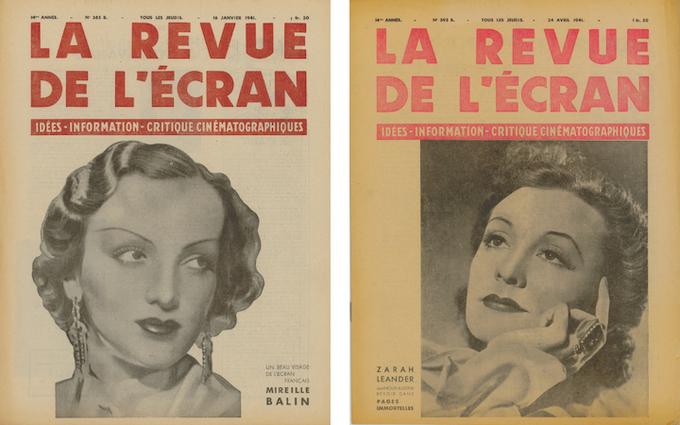 En couverture de La Revue de l'écran, Mireille Balin dans le n°365B du 16 janvier 1941 et Zarah Leander dans le n°393B du 24 avril 1941