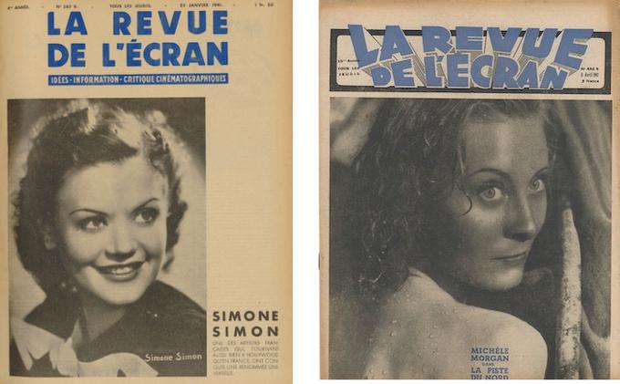 En couverture de La Revue de l'écran, Simone Simon (n°367B du 23 janvier 1941) et Michèle Morgan (n°486B du 9 avril 1942)