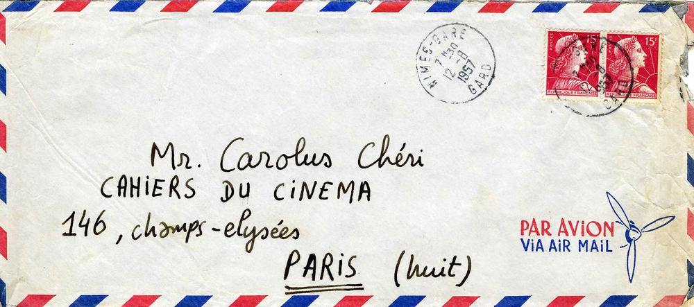 Enveloppe de François Truffaut à Charles Bitsch (recto)