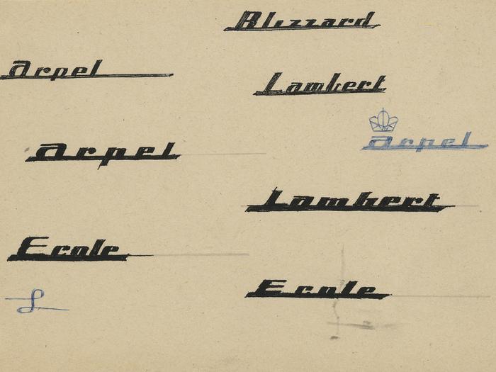 Essais graphiques de Pierre Étaix pour la préparation du film Mon Oncle de Jacques Tati