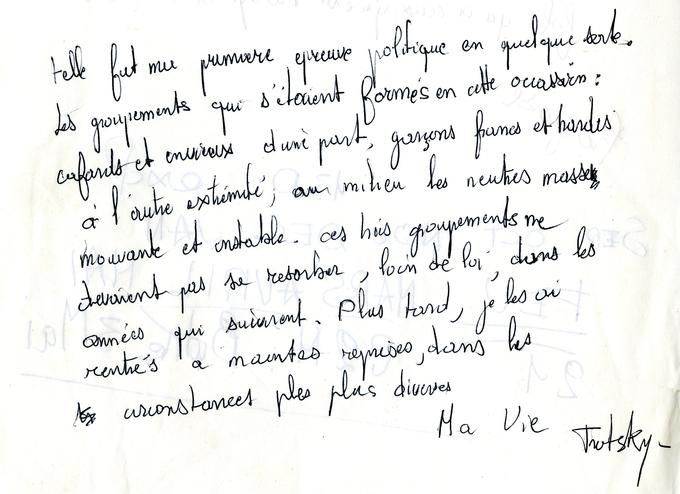 """Extrait de """"Ma Vie"""" de Trotsky, sélectionné par Goupil"""