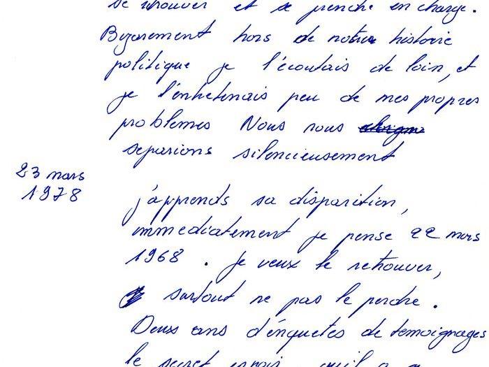 """Extrait de notes avec dates importantes (Archives GOUPIL 73 B17 – """"Mourir à trente ans"""" : """"Original Reca"""")"""