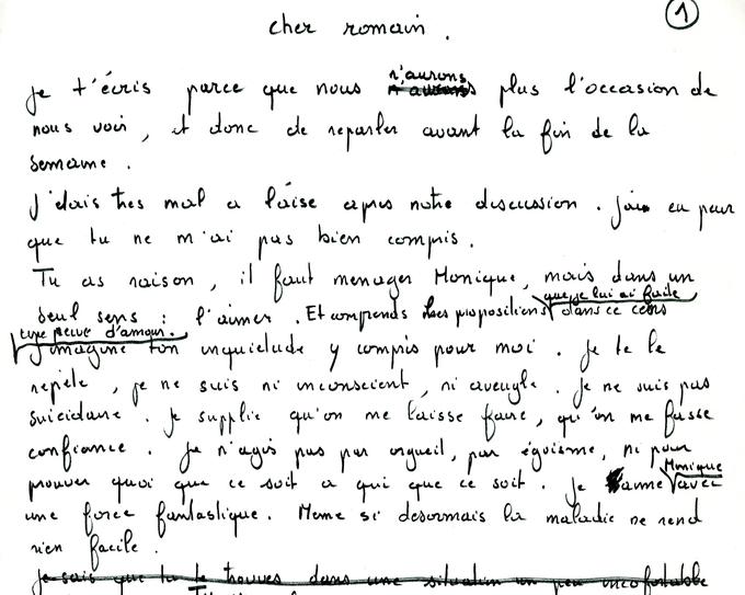 Extrait du brouillon original de la lettre de Recanati à Goupil