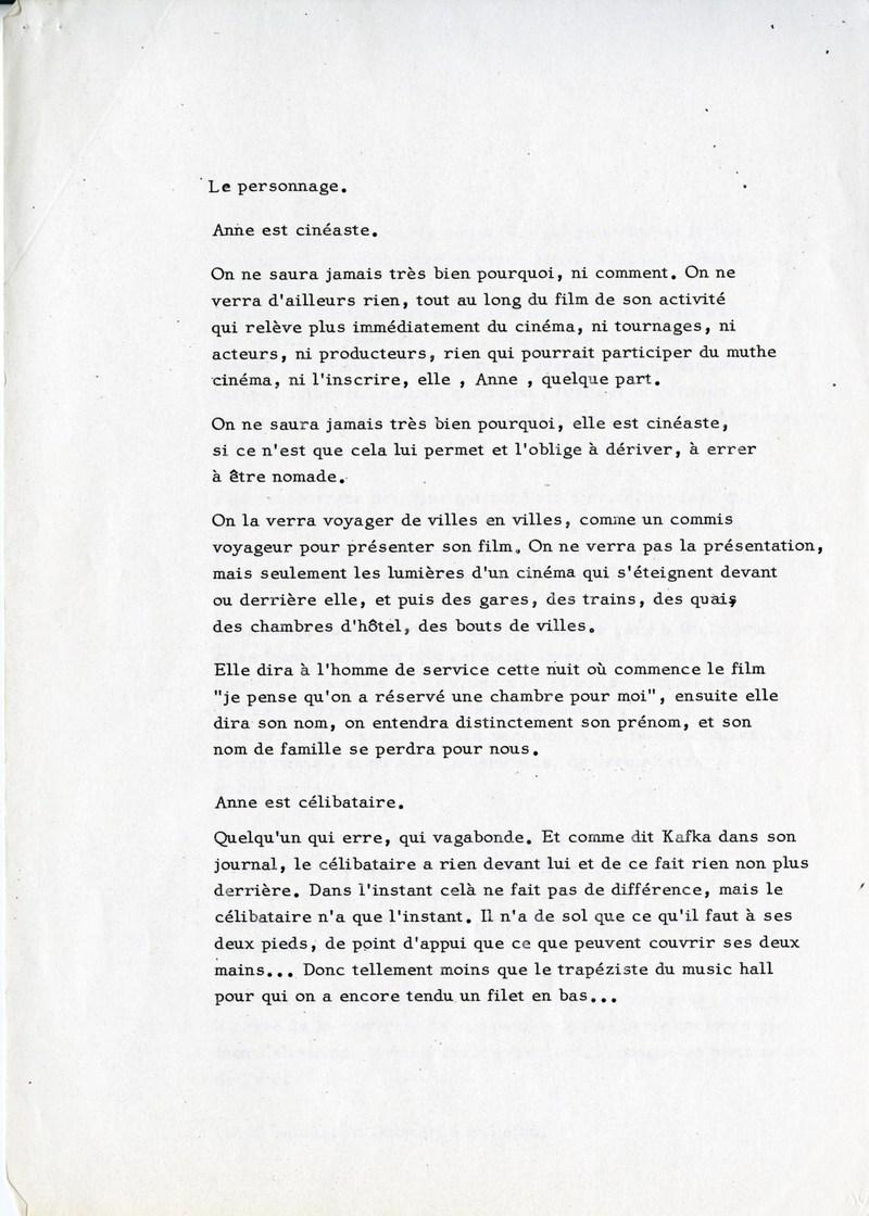 Extrait d'un premier traitement sous forme de synopsis de 6 pages (GOUPIL 35-B6)
