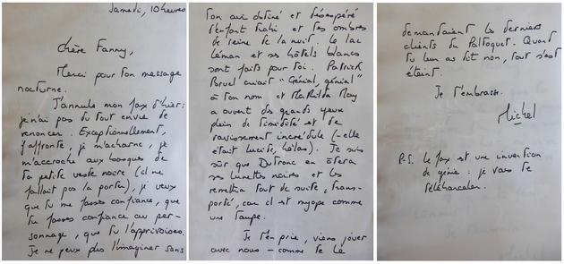 Fax à Fanny Ardant pour la convaincre de prendre le rôle dans Toutes peines confondues