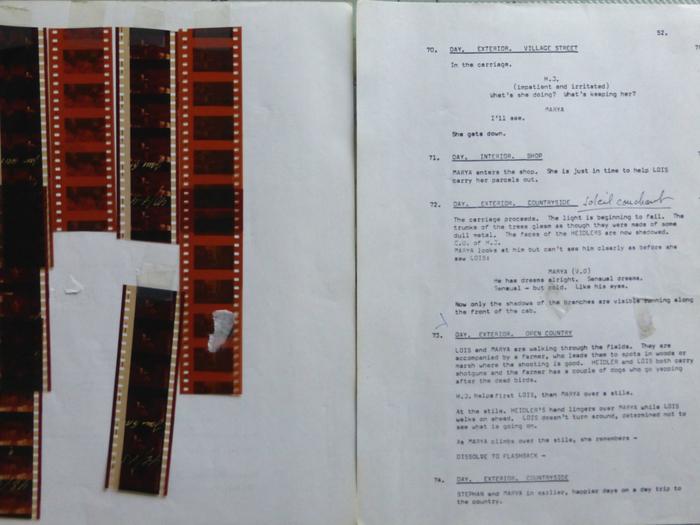 """Pages du scénario de """"Quartet"""" de James Ivory (1980), exemplaire de Pierre Lhomme © Pierre Lhomme"""