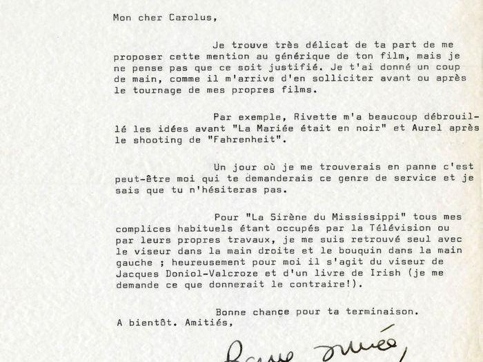 Francois Truffaut à Charles Bitsch, 14 janvier 1969