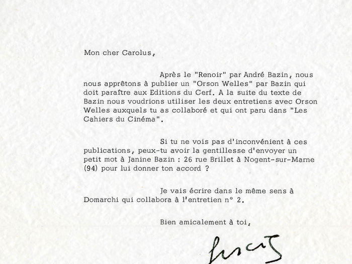 Francois Truffaut à Charles Bitsch, 19 juillet 1971