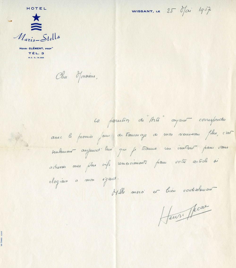 Henri Decae à Charles Bitsch, 25 mai 1957