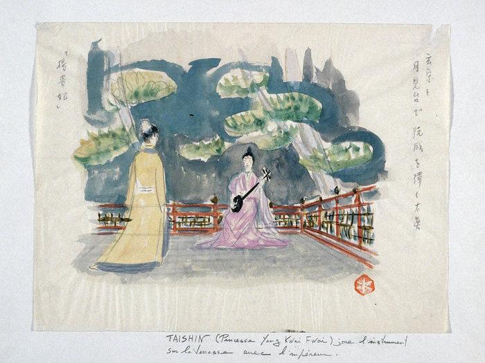 La princesse joue de l'instrument sur la terrasse avec l'empereur © Mizutani