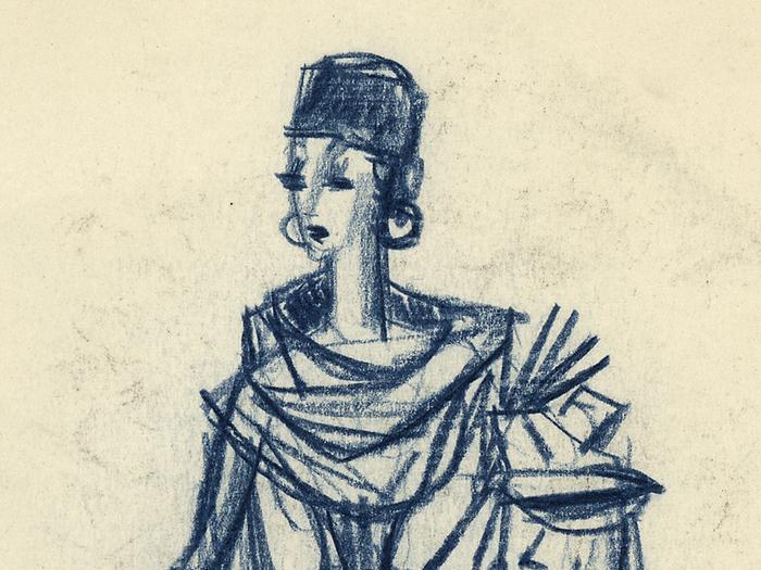 La Voisine, dessin de Pierre Étaix pour la préparation du film Mon Oncle de Jacques Tati