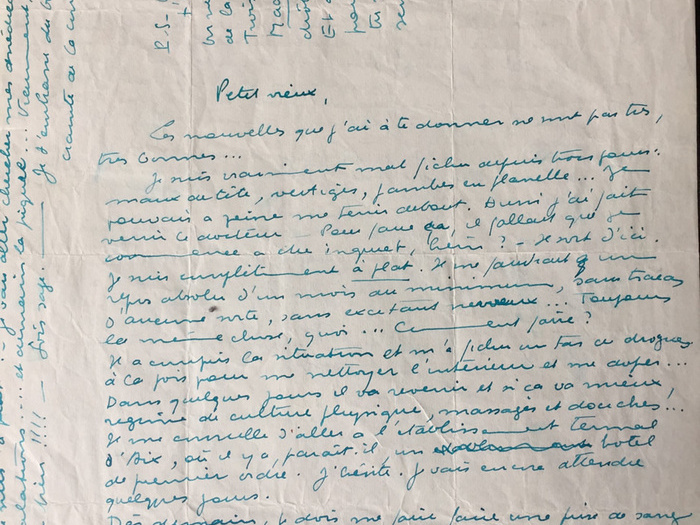 «On ne voit que toi place de la Libération... Trois photos de Madame X [...] après m'avoir poursuivi à Arcachon, tu me poursuis cette semaine, ici!!!» Lettre de Marcel Carné à «Petit vieux», du 19 octobre 1951. CARLES3356B93